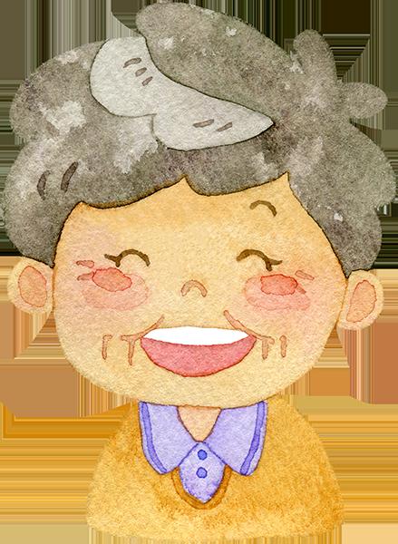 笑顔のおばあさんのイラスト
