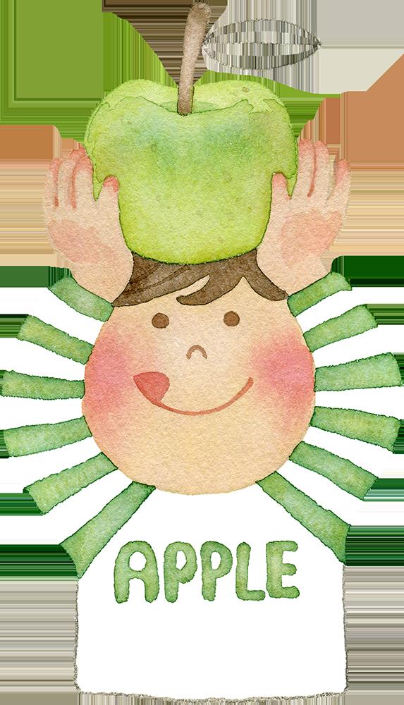 青りんごを頭の上で持つ男の子の水彩イラスト