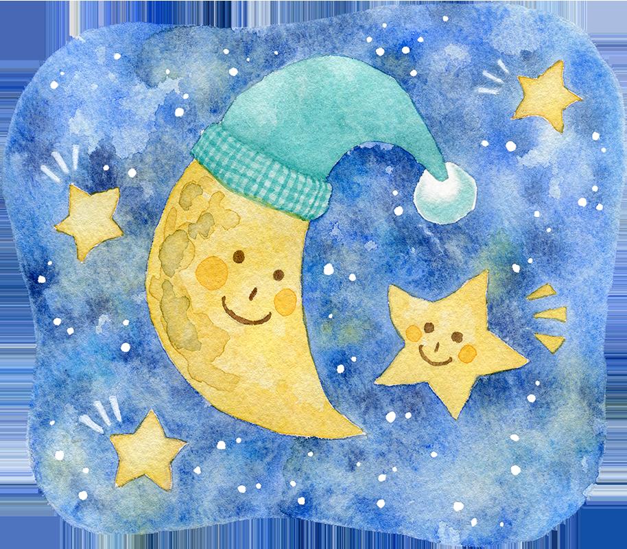 あいさつをする月と星の水彩イラスト