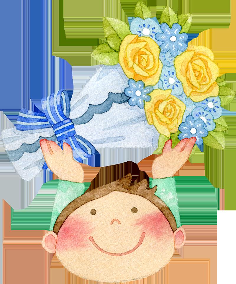 ②青い花束を持つ男の子