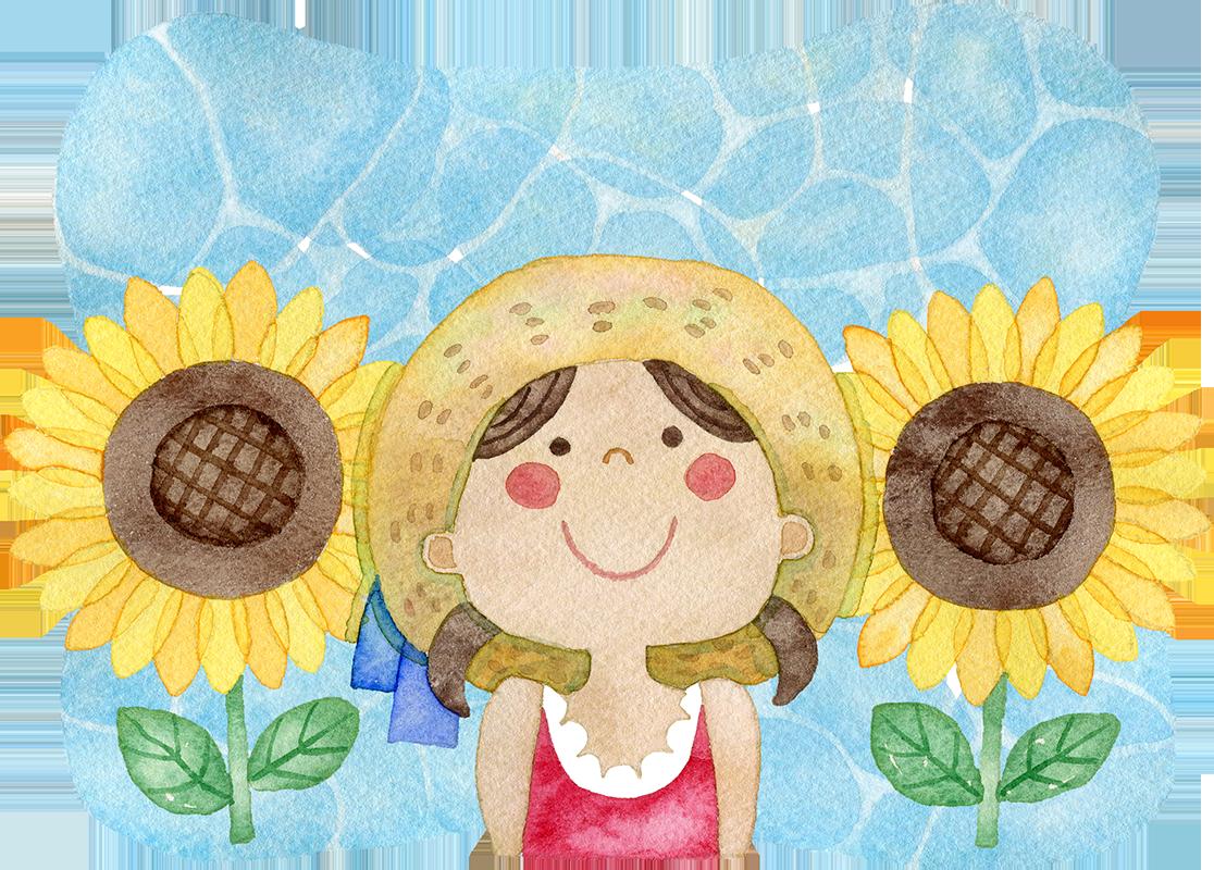 女の子とひまわりの水彩イラスト(背景あり)