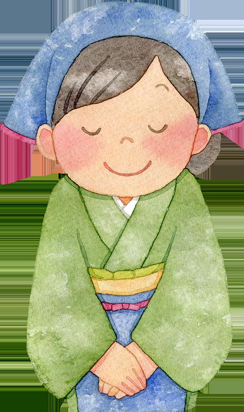 ①着物に前掛けと三角巾を付けた女性の水彩イラスト