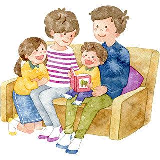 ソファでくつろぐ家族のイラスト