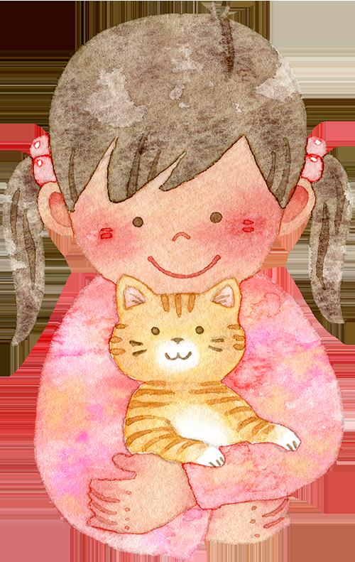 ネコを抱っこする女の子(上半身)の水彩イラスト