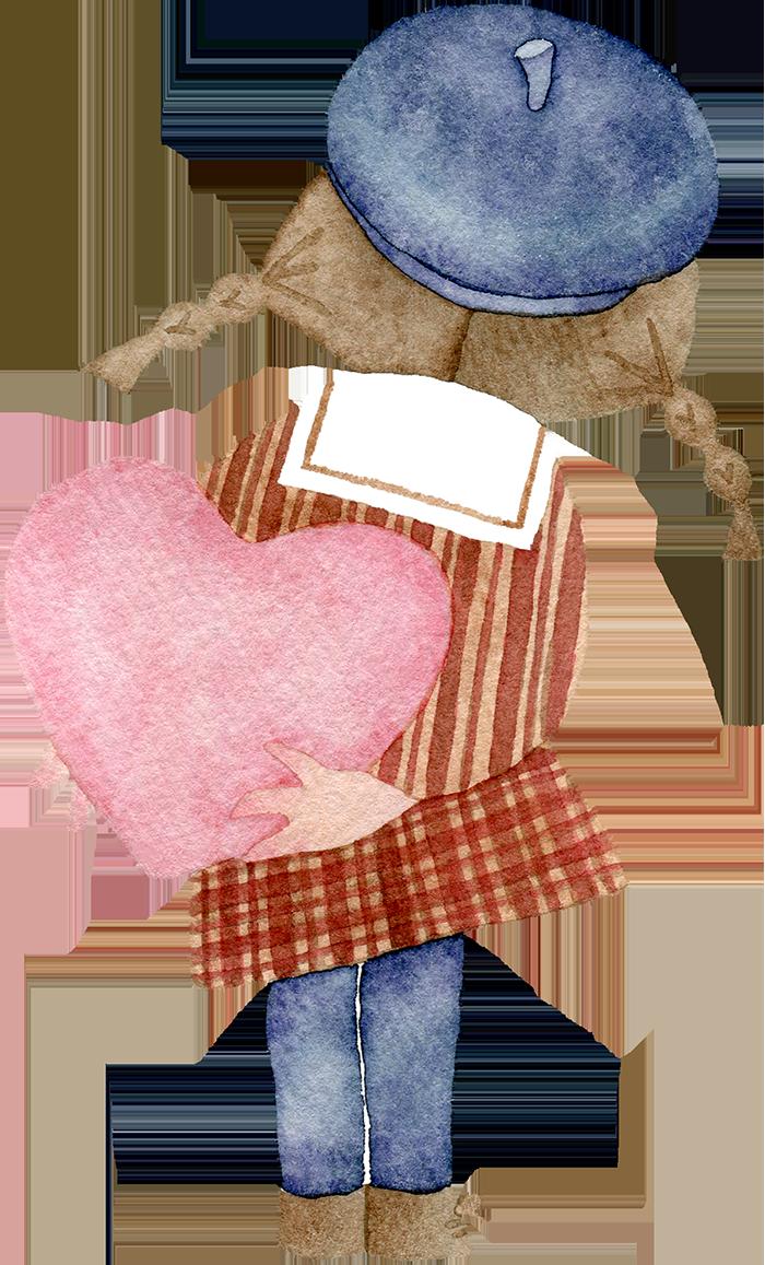 ハートを持つ後ろ姿の女の子の水彩イラスト