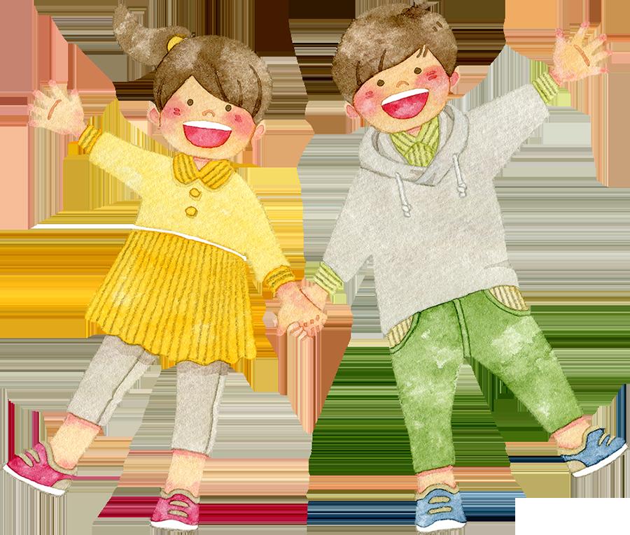 手をつなぐ笑顔の子供たちのイラスト