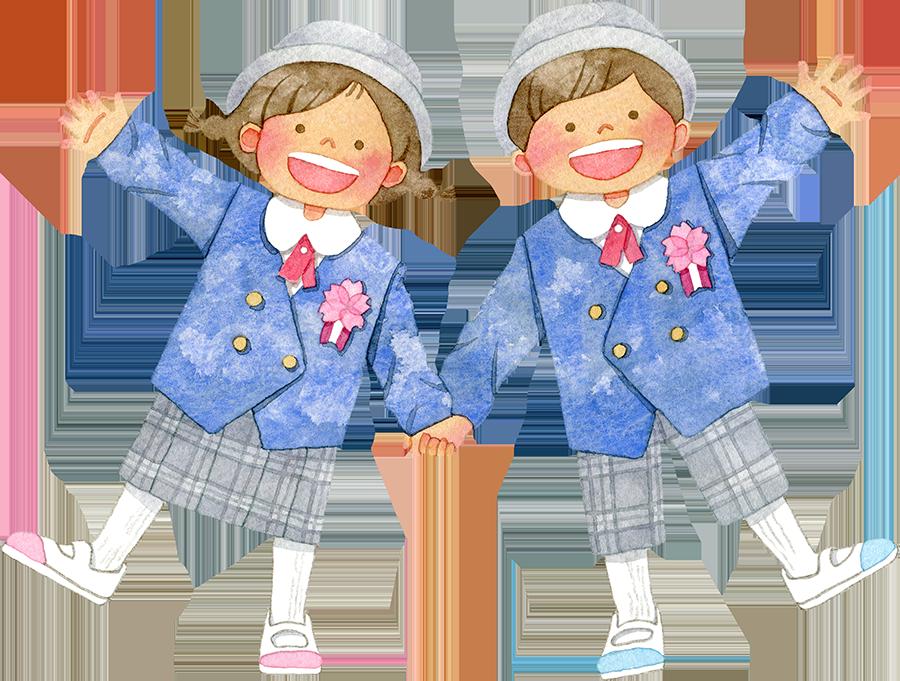 青い制服を着て手をつなぐ笑顔の子供たち(入卒園/入学)のイラスト