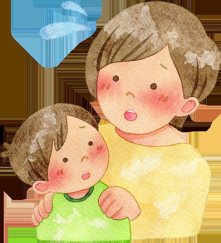 子供を心配する母親の水彩イラスト