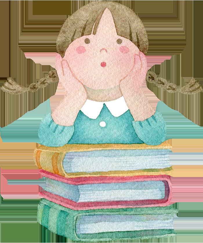本の上に頬杖をつく女の子の水彩イラスト