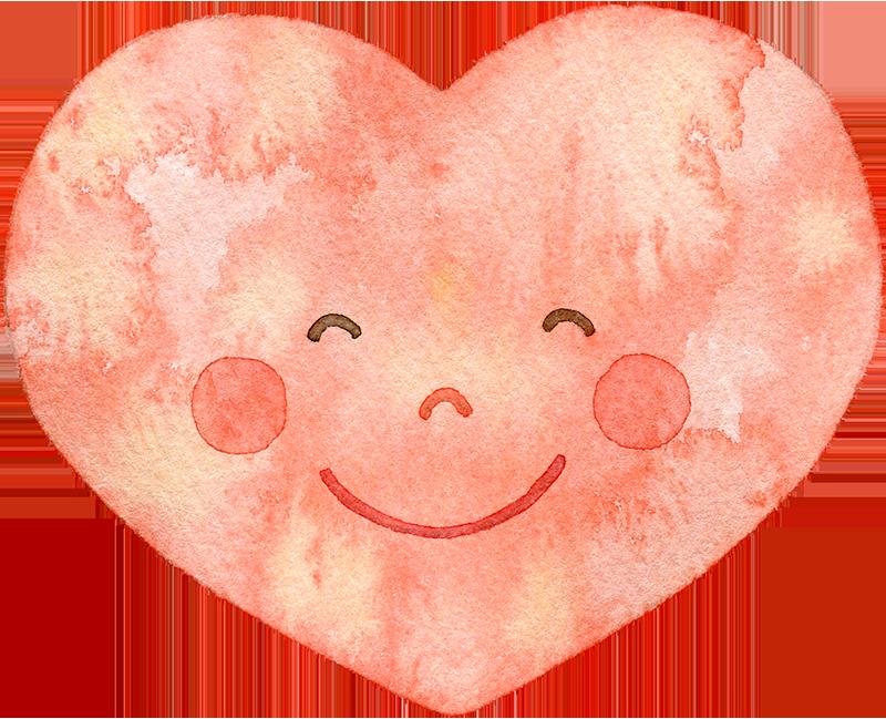 笑顔のハートの水彩イラスト