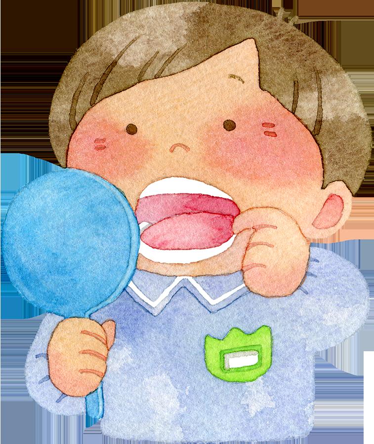 手鏡で口の中を見る園児(男の子)の水彩イラスト