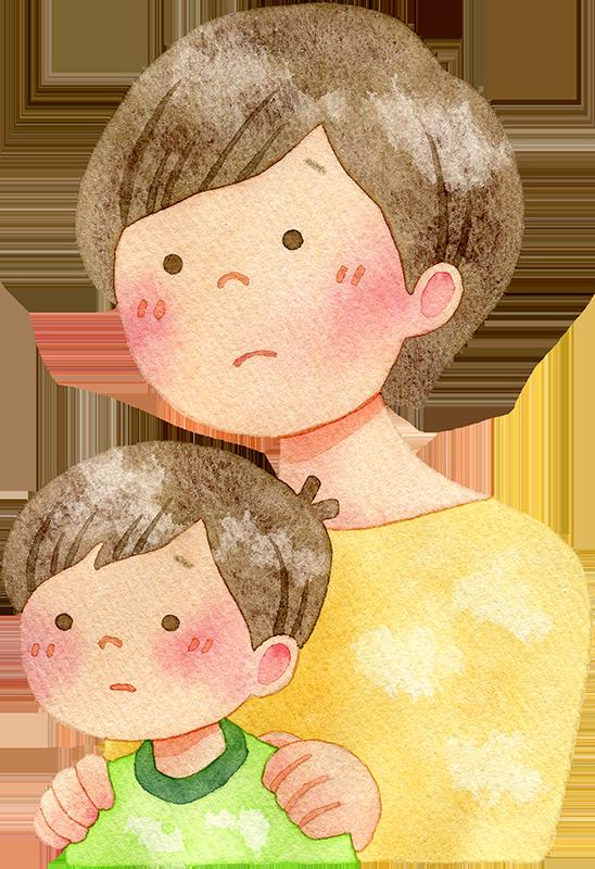 落ち込む親子の水彩イラスト