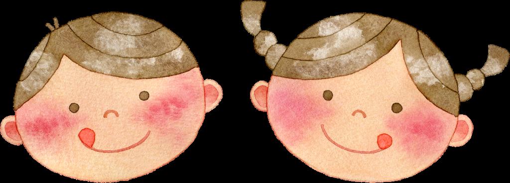 美味しい顔の子供たちの水彩イラスト