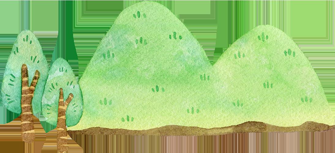 シンプルな山の水彩イラスト