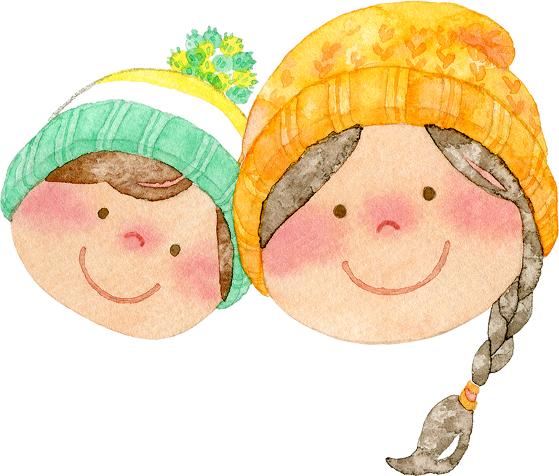 ニット帽をかぶった親子の水彩イラスト