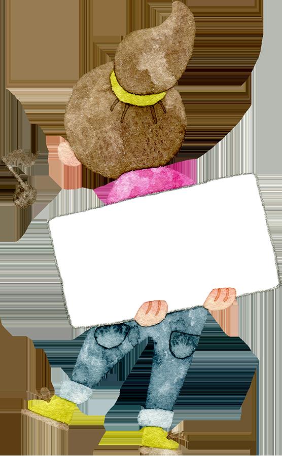 メッセージボードを持つ後ろ向きの女の子の水彩イラスト
