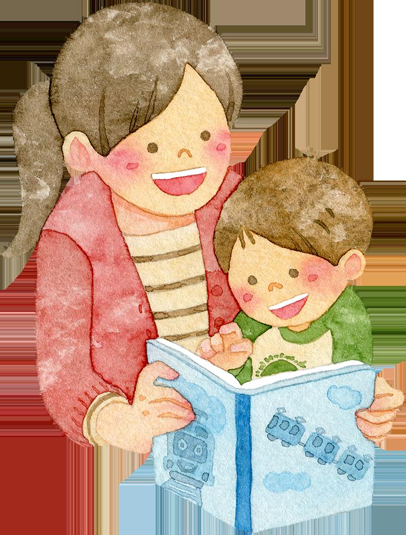 絵本を読む親子の水彩イラスト