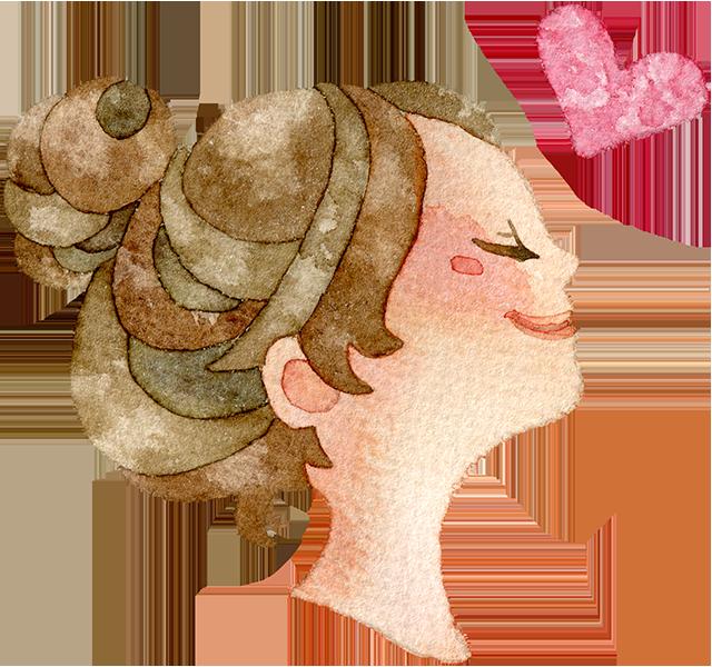 目を閉じる横顔の女の子とハートの水彩イラスト