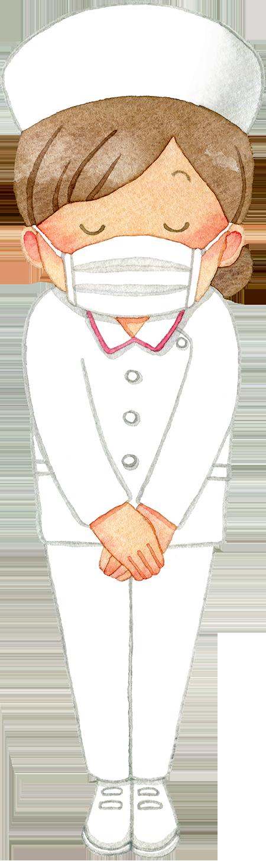 ④お辞儀をするマスクの女性看護師(全身/ナースキャップ)