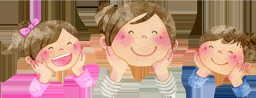 頬杖をつく親子の水彩イラスト