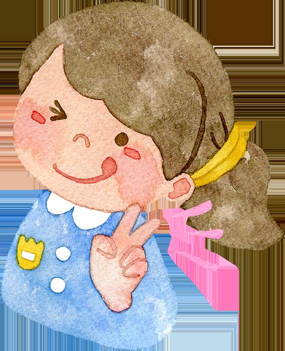 ピースをする園児(女の子)の水彩イラスト