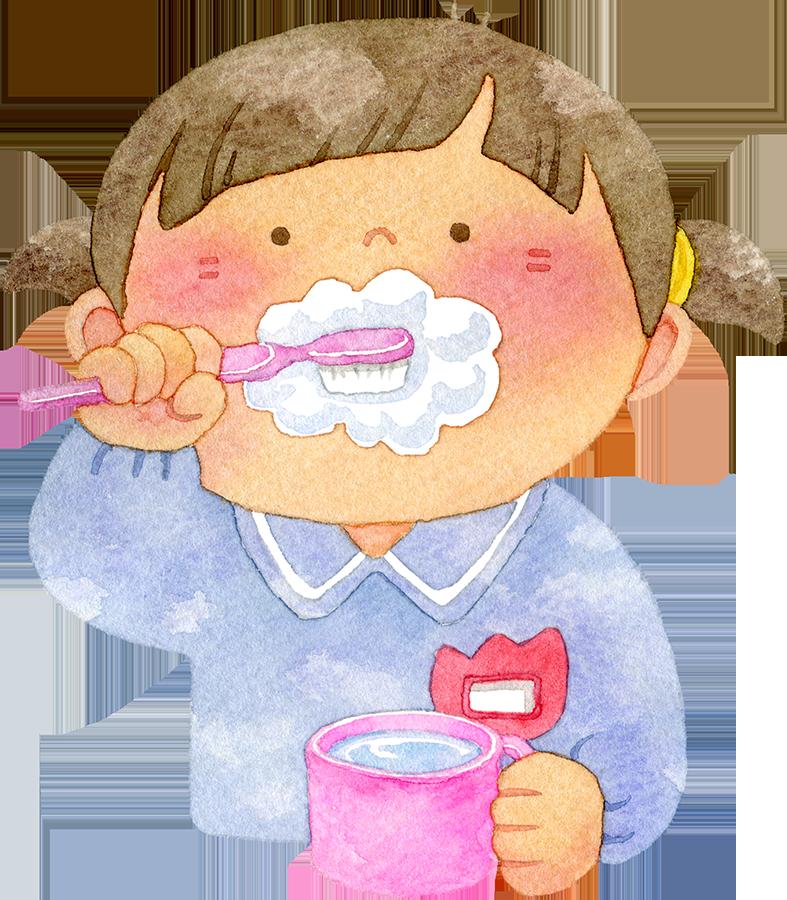 歯磨きをする園児の水彩イラスト(女の子)
