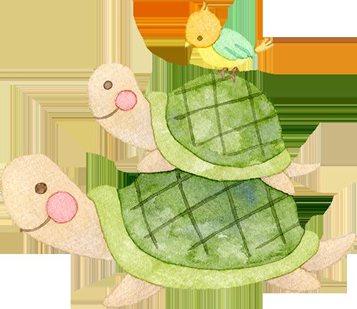 亀の親子の上に乗る小鳥の水彩イラスト