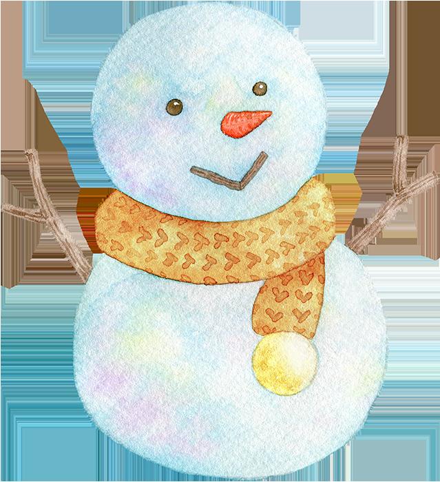 雪だるまの水彩イラスト