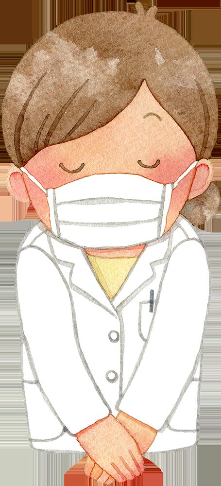 マスクを付けお辞儀をする白衣姿の女性の水彩イラスト