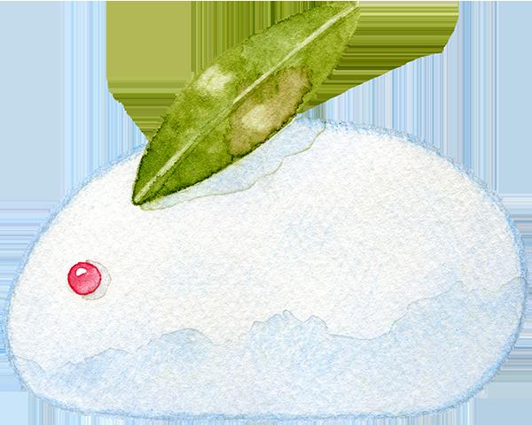雪うさぎの水彩イラスト