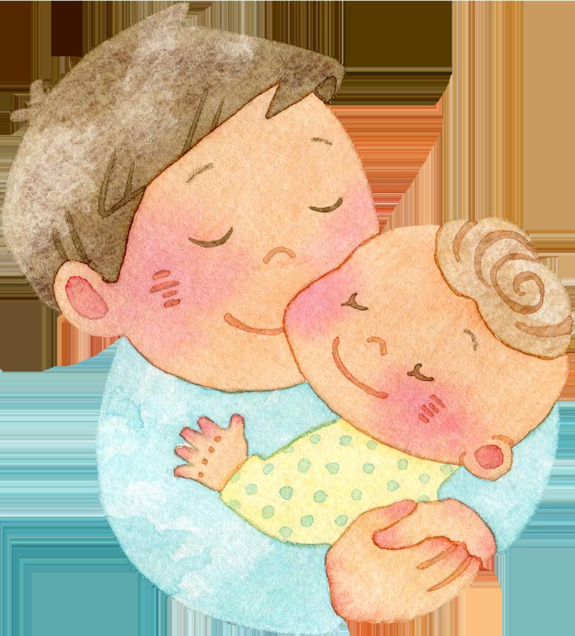 赤ちゃんを抱きしめる父親の水彩イラスト