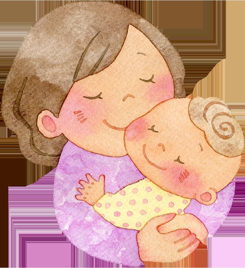 赤ちゃんを抱きしめる母親の水彩イラスト