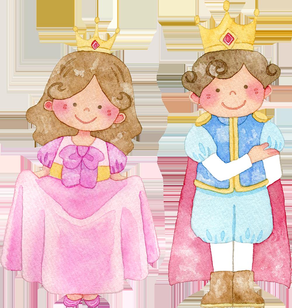 王子様とお姫様の水彩イラスト