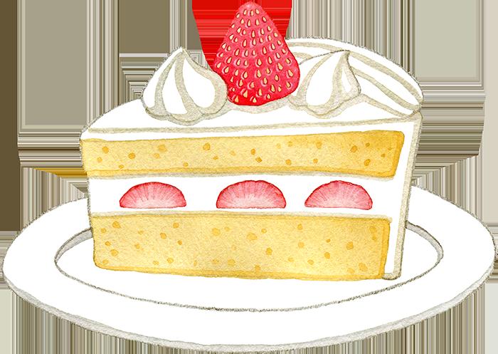 苺のショートケーキの水彩イラスト