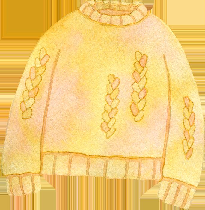 黄色いケーブルニット(セーター)の水彩イラスト