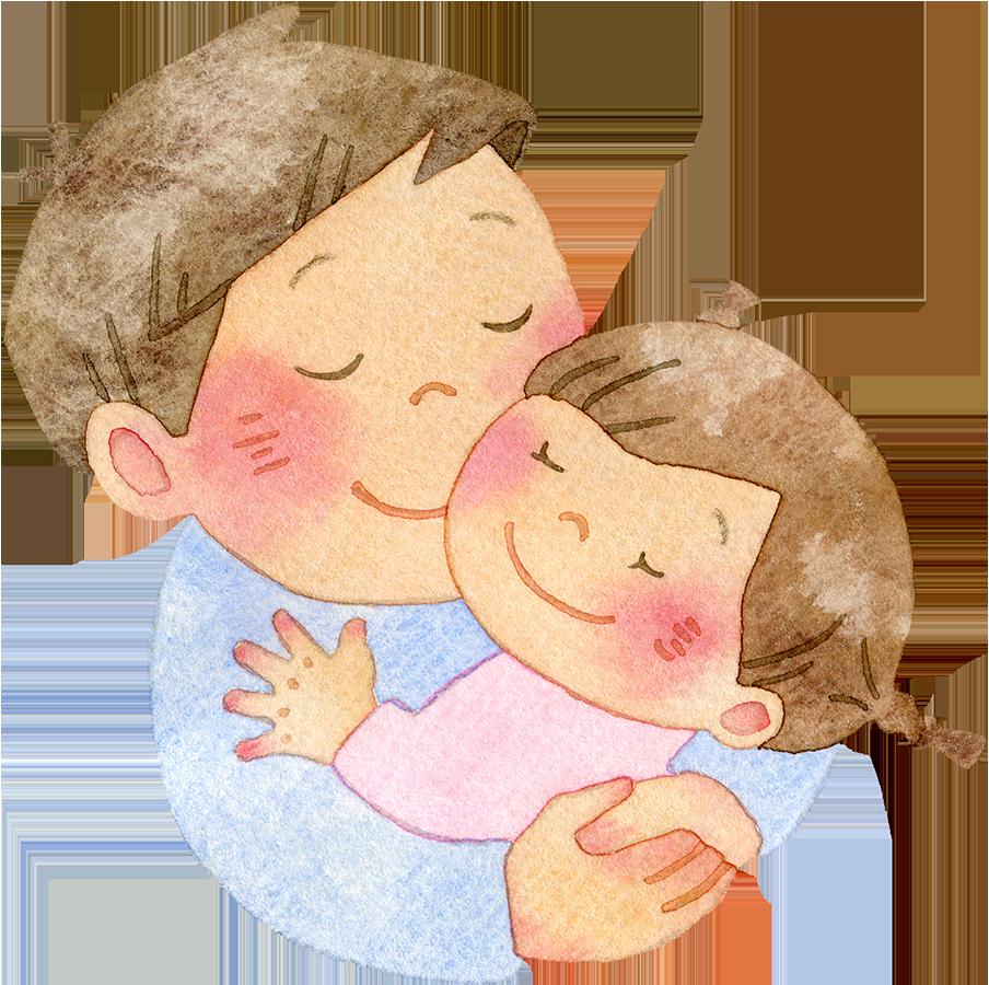 女の子を抱きしめる父親の水彩イラスト