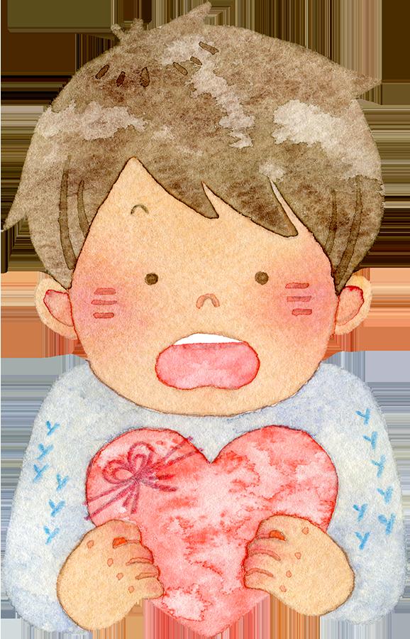 ハートを持って驚く若い男性の水彩イラスト