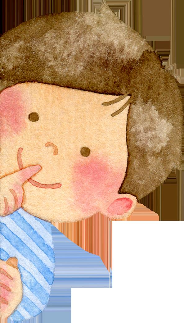 ひょっこりと顔を出す子供たちの水彩イラスト(水色)