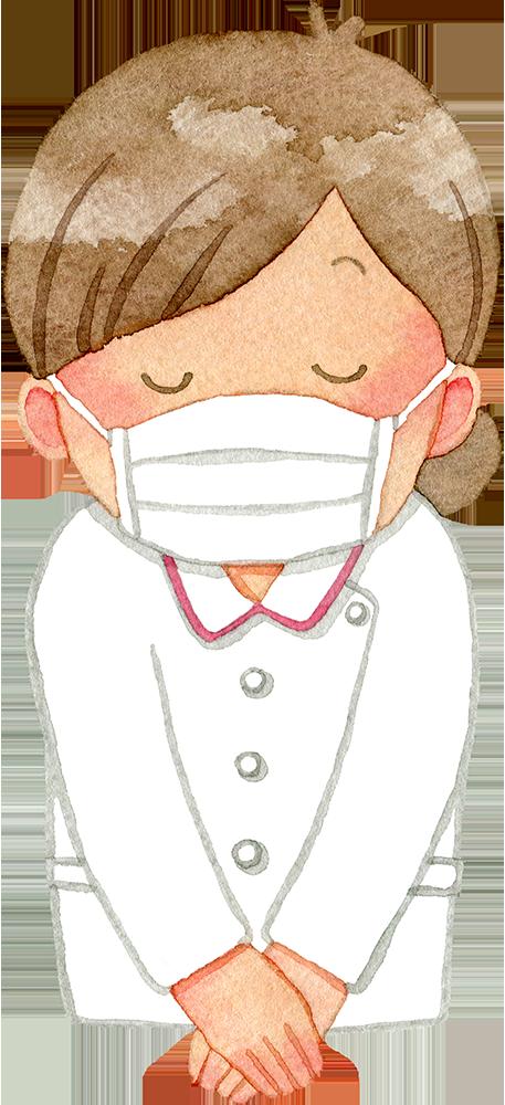 ①お辞儀をするマスクの女性看護師(上半身)