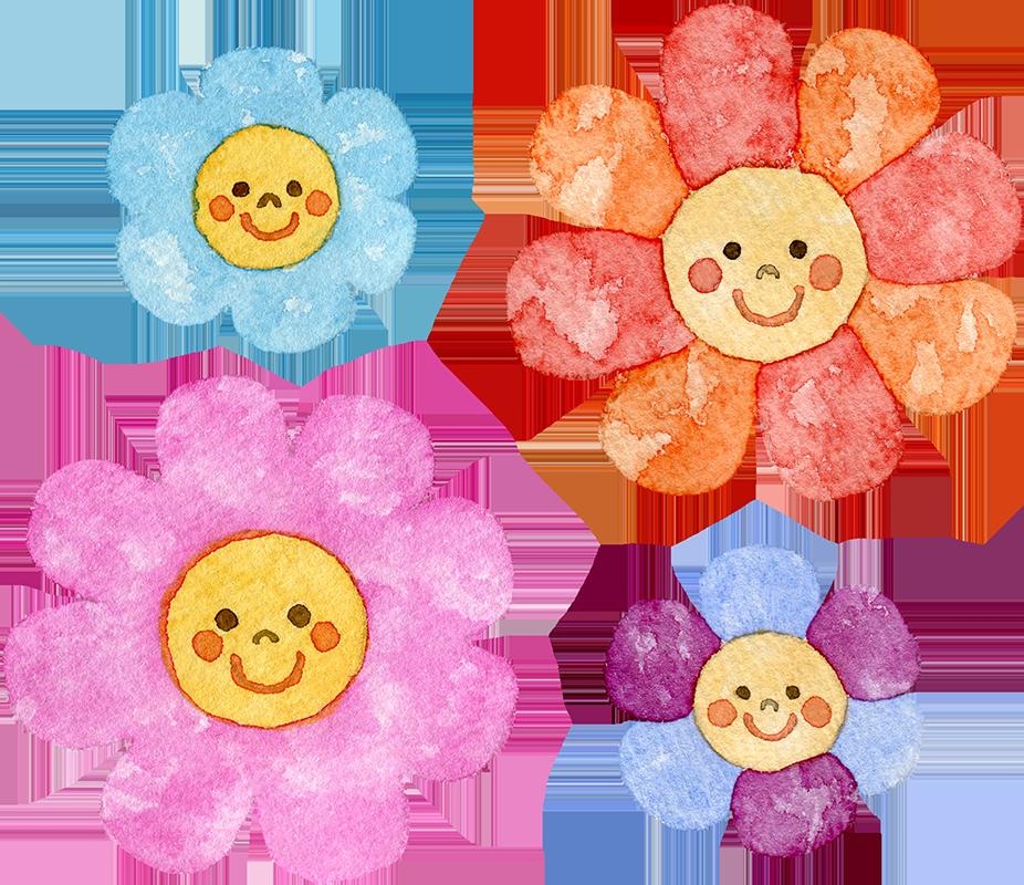 カラフルな花(顔付き)の水彩イラスト