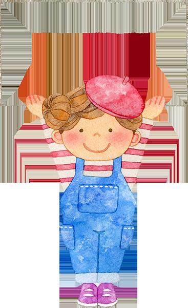 カードを持つ女の子の水彩イラスト