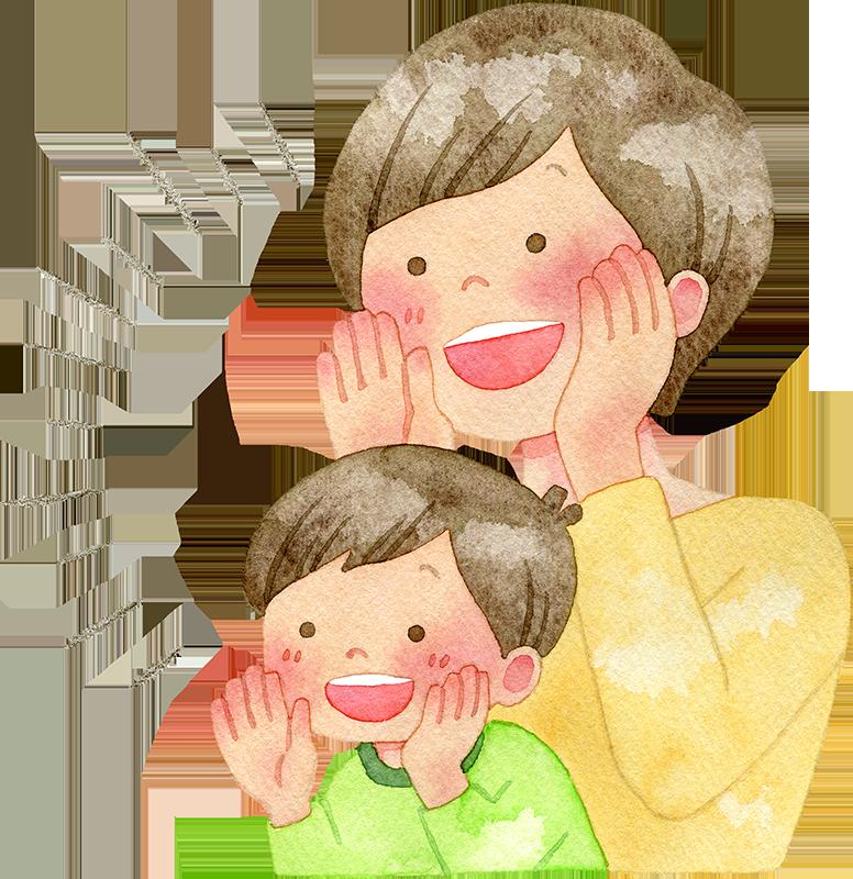 応援する親子の水彩イラスト