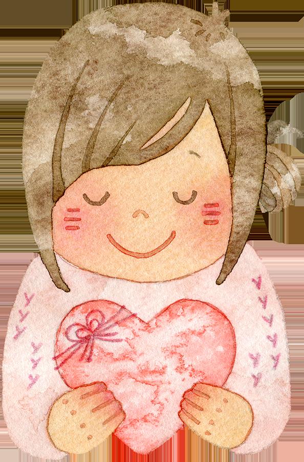 ハートを持って目を閉じ微笑む若い女性の水彩イラスト