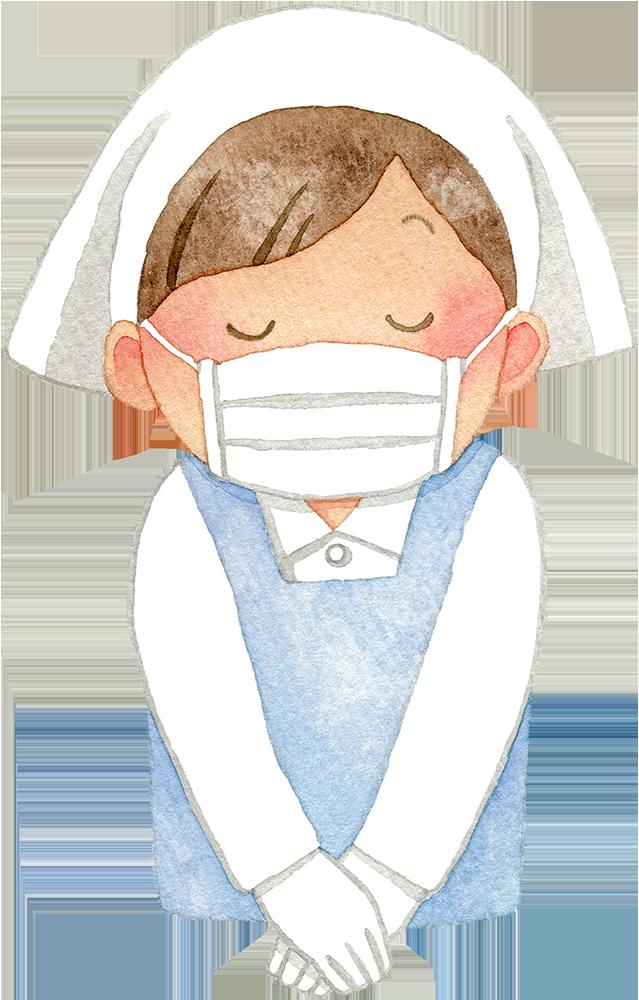 マスクを付けお辞儀をする三角巾とエプロンの女性の水彩イラスト