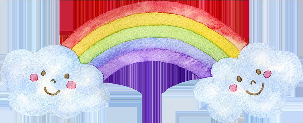 虹と雲の水彩イラスト(顔あり)