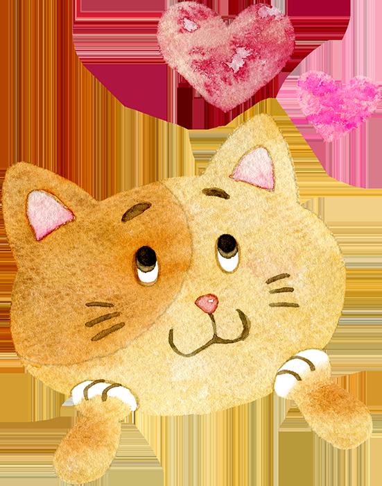 ①ワクワクしている猫の水彩イラスト
