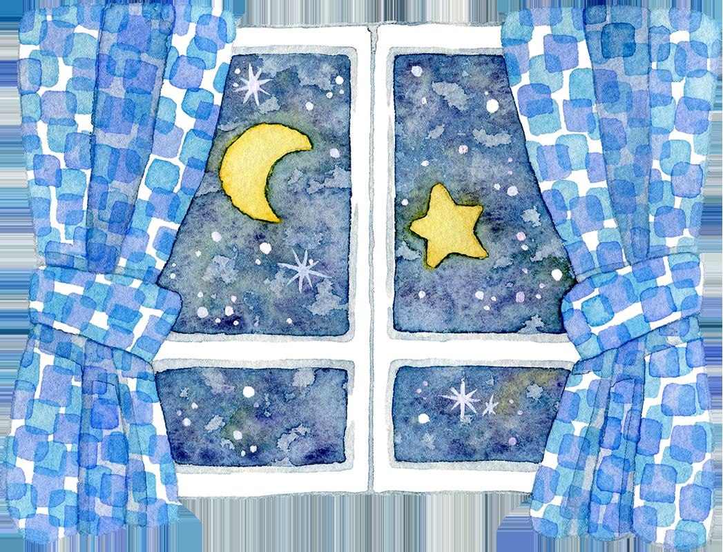 月夜の窓辺の水彩イラスト