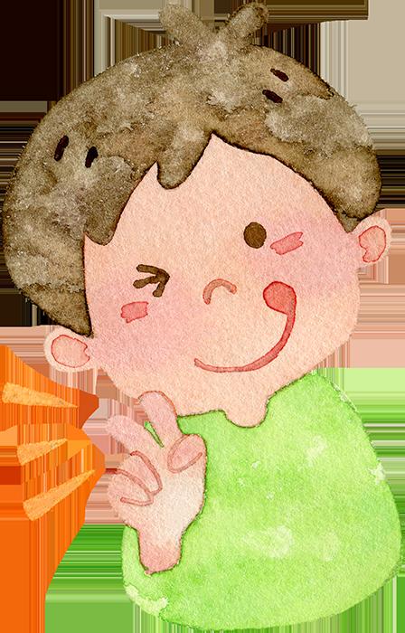 ピースをする男の子の水彩イラスト