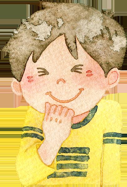 うっしっしと笑う男の子の水彩イラスト