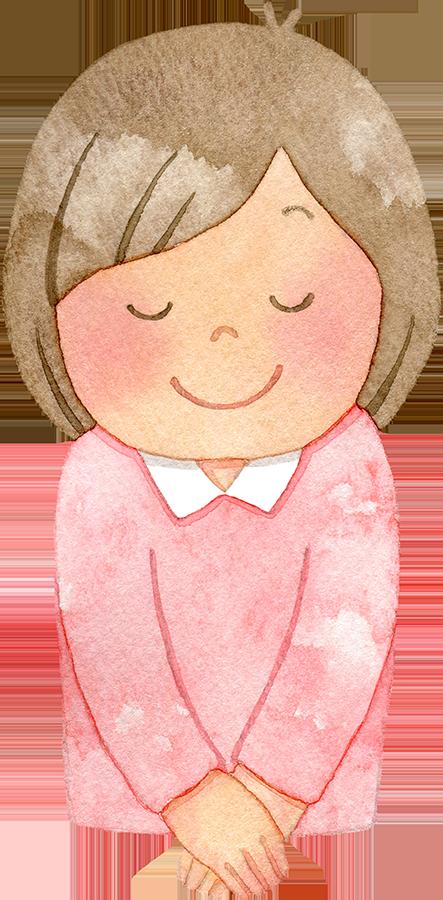 笑顔でお辞儀をする女性(上半身)の水彩イラスト